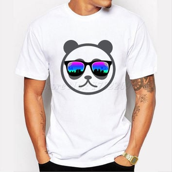 New fashion Cartoon Panda Printed Men's Customized T-shirt The Mustachio/Strong Coffee Funny Design Male Tops Hipster Casual Tee