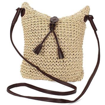 Ladies' Summer Cross-body Flap Casual One Shoulder Straw Rattan  Messenger Bag