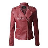 Quilted Moto Biker Faux Leather Jacket with Zipper Pockets (CLEARANCE)