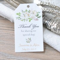Personalized Wedding Favor Hang Tags Wedding Gift Tags White Peonies with Soft Green Leaves Gold & Black lettering