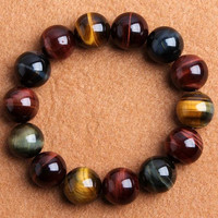 good luck Natural red / yellow / blue tiger eye stone charm beaded prayer beads Colorful tiger eye stone beaded Bracelet