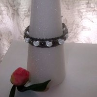 Lot of 2 Bracelets Leather Wrap Glass Beads and Silver Swirl with Pearls