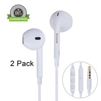 Amoner Premium Earphones with Stereo Mic & Remote Control for iPhone 6S/iPhone 6, iPhone 6 Plus,iPhone 5s 5c 5, iPad / iPod and More - White (Pack of 2)