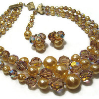 Sherman AB Light Topaz Color Crystal and Faux Pearl Vintage Necklace Earring Set Demi Parure Mid Century Mod Womens Jewelry