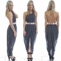 Grey Backless Harem Jumpsuit