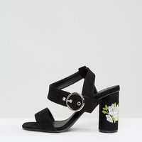Truffle Colleciton Embroidery Heel Sandal at asos.com