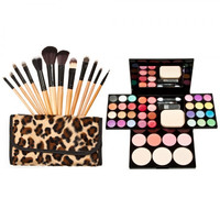 ADS Eye Shadow + 12pcs Wooden Handle Professional Multifunctional Cosmetic Makeup Brushes Set Leopard