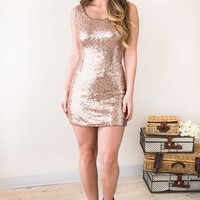 Star Dust Rose Gold Sequin Dress