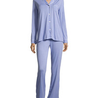 Bella Long-Sleeve Pajama Set, Purple Sky/White