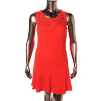 Vince Camuto Womens Textured Mesh Inset Party Dress