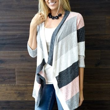 Ivory Multi-Color Striped Knit Cardigan