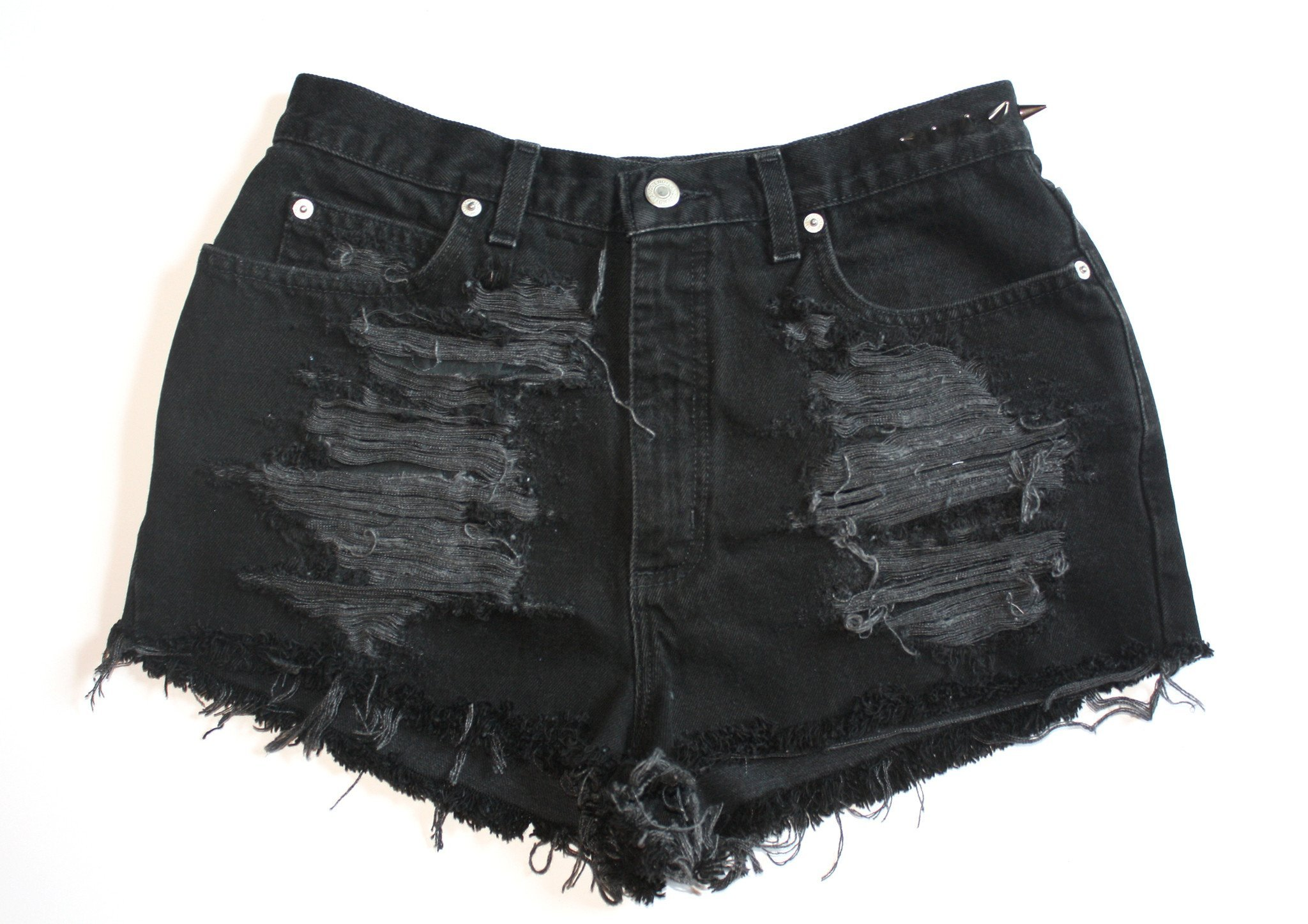 Image of Black High Waisted Vintage Denim Shorts With Spikes