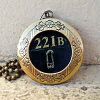 sherlock holmes watson apartment wallpaper small print bbc vintage pendant locket necklace - ready for gifting - buy 3 get 4th one free