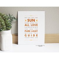 Yoga Blessing Art - Long Time Sun - Inspirational Typography Quote Wall Decor