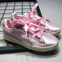 PUMA Basket Heart Copper Bow casual ladies sneakers Silk Pink
