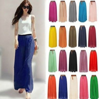 2015 Real Sashes Solid Casual Floor-length Midi Skirt New Women Double Layer Chiffon Retro Long Maxi Elastic Waist Skirt