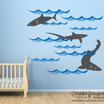 Sharks nursery wall decal, ocean wall decal, nautical wall decal, sea wall decal, kids wall decal, shark wall sticker, vinyl decal