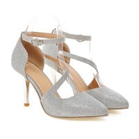 Plus Size Pointed Women Thin Shoes Hollow   silver