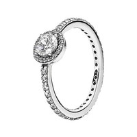 Women's PANDORA 'Classic Elegance' Ring - Silver/ Clear