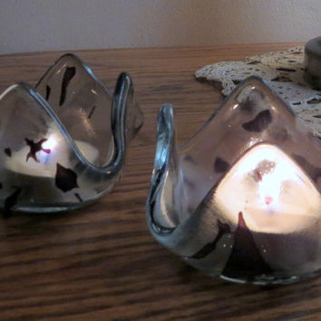 Fused Glass Candle Holders, Clear Glass with touches of Purple,  Statteam