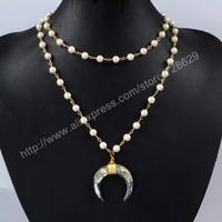 BOROSA Gold Wire Wrap Abalone Shell Horn layer Necklace Natural Freshwater Pearl Bead Choker Necklace Jewelry for women G1164-in Choker Necklaces from Jewelry & Accessories on Aliexpress.com | Alibaba Group