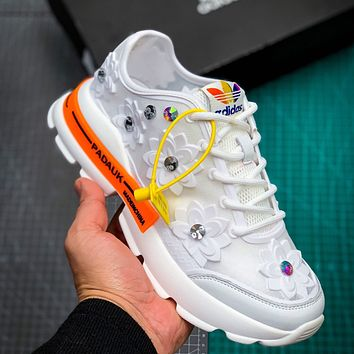 Bunchsun ADIDAS 2020 Daddy Shoes Rhinestone Sponge Shoes Lace Breathable Mesh Sports White Flower orange