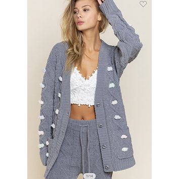 Apparel-Heidi Chenille Cable Knit Cardigan Charcoal