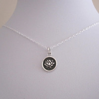 LOTUS FLOWER disc coin sterling silver charm necklace, Buddha, yoga necklace