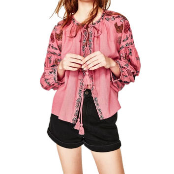 2017 New Butterfly Embroidery Lace Up Loose Sleeve Cotton Cardigan Gorgeous Top