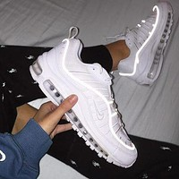 Nike Air Max 98 Fashion Men Casual Personality Reflective Line Sport Running Shoes Sneakers White