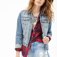 FOREVER 21 Distressed Denim Cutoffs Medium Denim