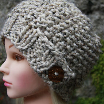 Hand Knit Hat Women's Hat- cream tweed with button