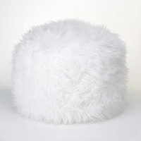 Home Decor Ideas Fuzzy White Ottoman Pouf