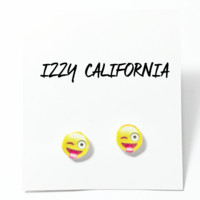 Winking Emoji Stud Earrings