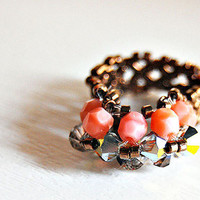 Swarovski Crystal Beaded ring tangerine pink unique Coral ring Bronze ring stretch ring