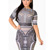 Printed Short Sleeve Bodycon Midi Dress