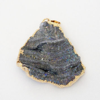 Gray Sparkly Druzy Crystal Agate Dipped in Gold pendant,  Druzy Druze Gold Teardrop Pendant, Select With Or Without Chain