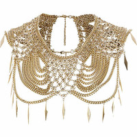 Gold tone chainmail embellished cape - collars / capes - jewelry - women