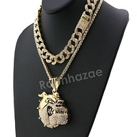 Hip Hop Quavo BULLDOG Miami Cuban Choker Chain Tennis Necklace L04