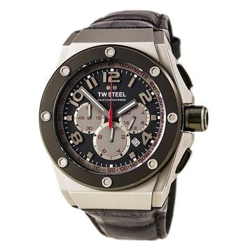 TW Steel CE4001 Men's CEO Tech David Coulthard Grey Dial Grey Leather Strap Chronograph Watch