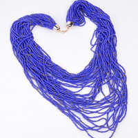 Fashion Blue Beads Chain Jewelry Long Style Handmade Bib Pendant Necklace