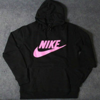 """NIKE"" Women Fashion Hooded Top Pullover Sweater Sweatshirt Black pink hook"
