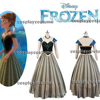 Disney Film Frozen Anna Coronation Outfit Dress Cosplay Costume *Adult US Size S-XL*