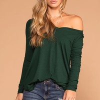 Missy Hunter Green Long Sleeve V-Neck Top