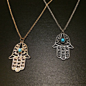 Hamsa Hand Necklace boho hippie jewelry protection necklace turquoise silver and gold