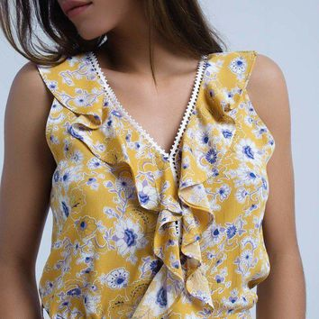 Angelica Yellow Floral Boho Maxi Dress