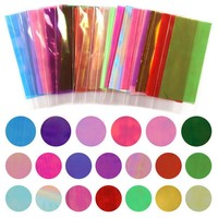 DCCKHG7 Hot Sale 20 Different Colors Broken Glass Pieces Mirror Foil Tips Stencil Decal Nail Art Sticker Cute Manicure Tools For DIY