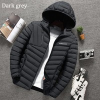 ADIDAS Clover 2018 winter new slim hooded men's plus velvet warm down jacket dark grey