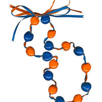 Lucky Kukui Nuts Necklace - Royal/Orange