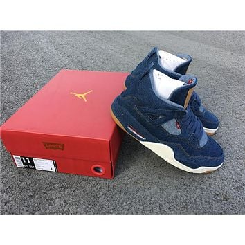 Levi's x Air Jordan 4 AO2571-401 Men Basketball Shoes Size #40.5---#46